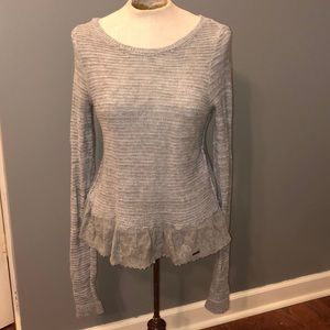 Lace lined sweater